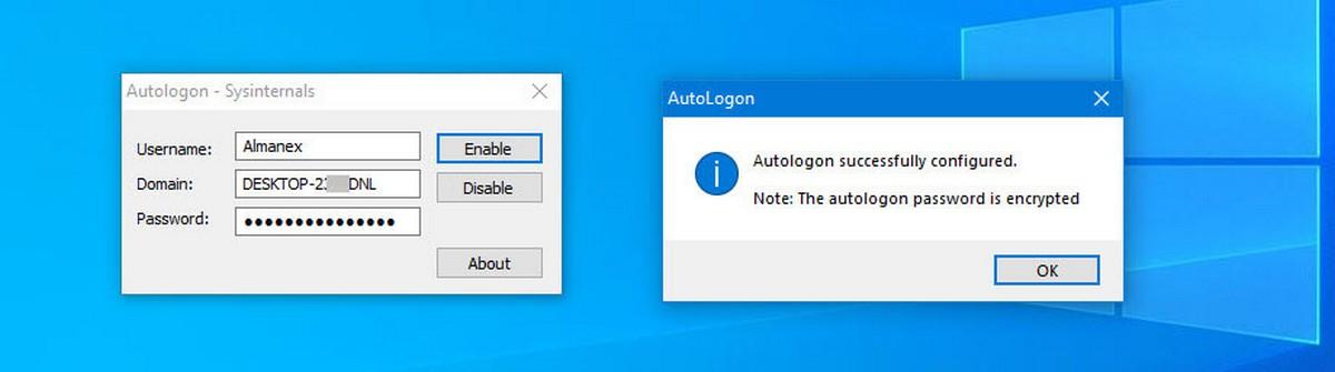 сообщениеподтверждающее,что Autologon успешно сконфигурирован.